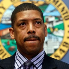 Mayor Kevin Johnson administers some act right after being hit by pie at fundraiser